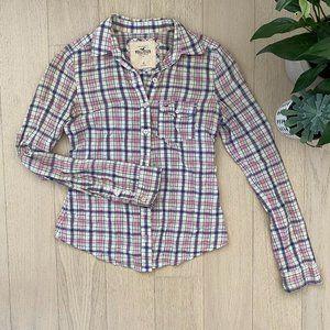 Hollister Pink Plaid Button Up Shirt
